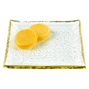 Goldedge Hand Decorated Gold Leaf Edge Rectangular Blown Glass 18 X 6 5 Serving Platter Or Tray Badash Crystal